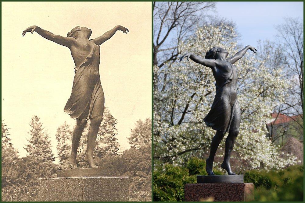 Rzeźba Tancerka – na przedwojennej pocztówce i dziś