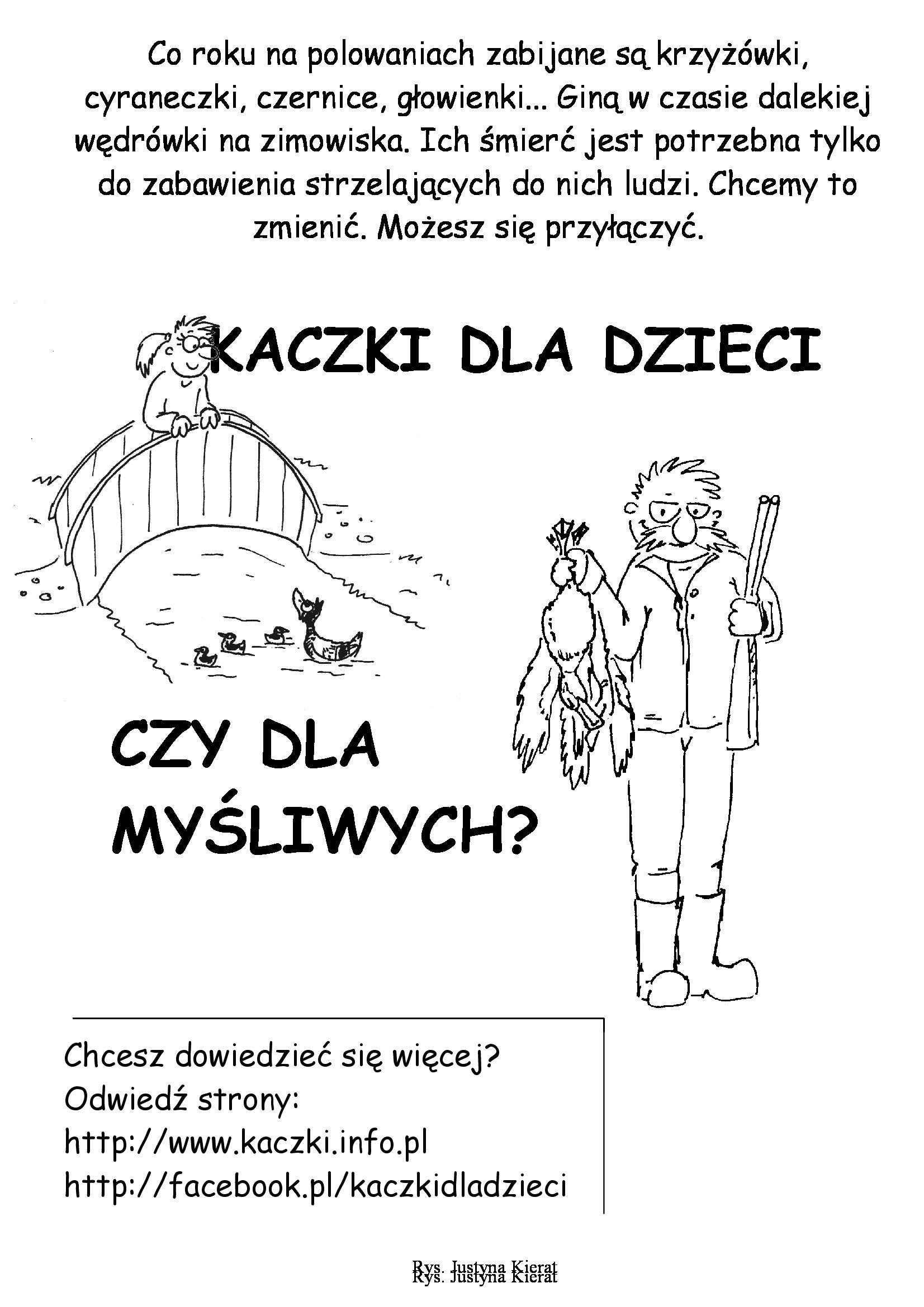 Plakat akcji Kaczki dla dzieci, czy dla myśliwych?